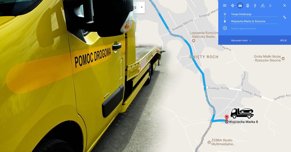Auto holowanie Rzeszów i Google Maps